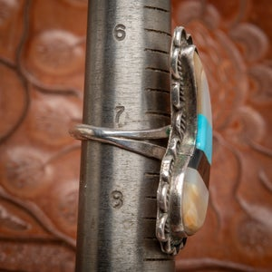 Image of Zuni Sterling Silver Inlay Ring with Turquoise Jet Mother of Pear and Coral Size 7.25.