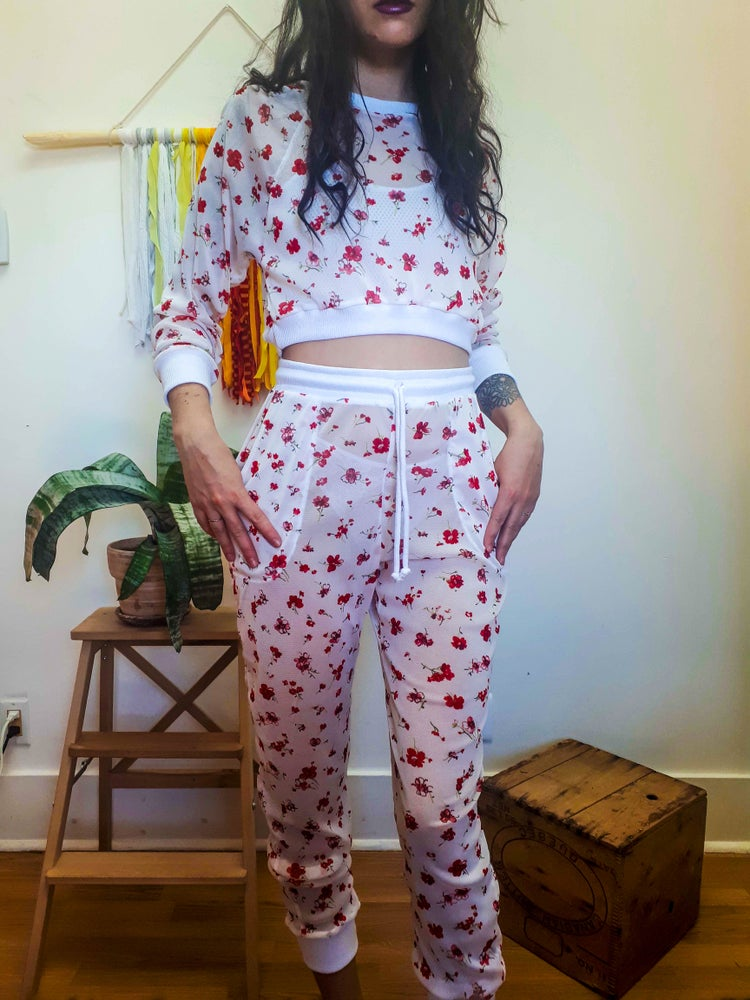 Image of Made-to-Order White Floral Mesh Tracksuit
