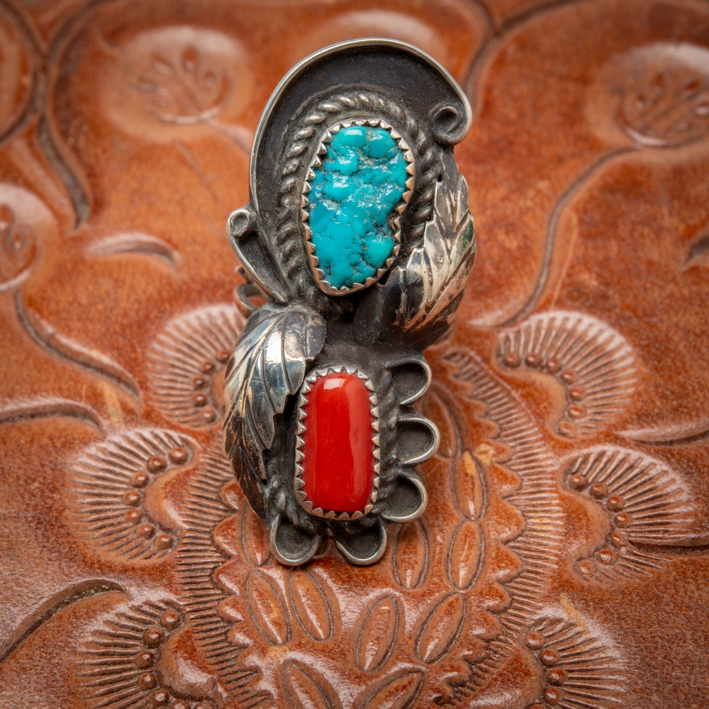 Image of Zuni Sterling Silver Ring by Zuni Silversmith Lila Yawakia with Red Coral and turquoise Nugget