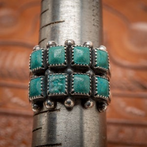 Image of 1940s Fred Harvey Two Row Zuni Style Paste Turquoise Ring Size 7
