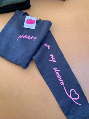 Image of Heart on my sleeve scroll sweater - adult