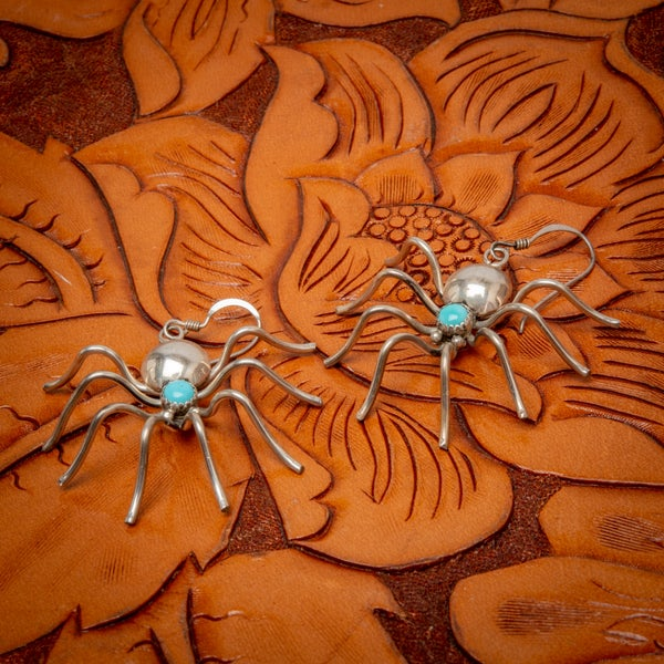 Image of Pair of Sterling Silver with Turquoise Spider Earrings by Zuni Silversmith Albert Pewa