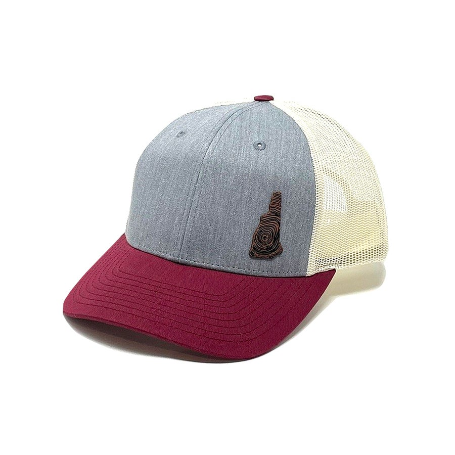 Image of NH Homegrown Snapback- Heather Grey/Maroon/Tan Mesh