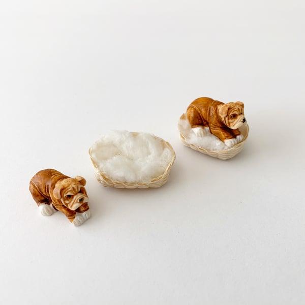 Image of Bulldog and Dog Bed