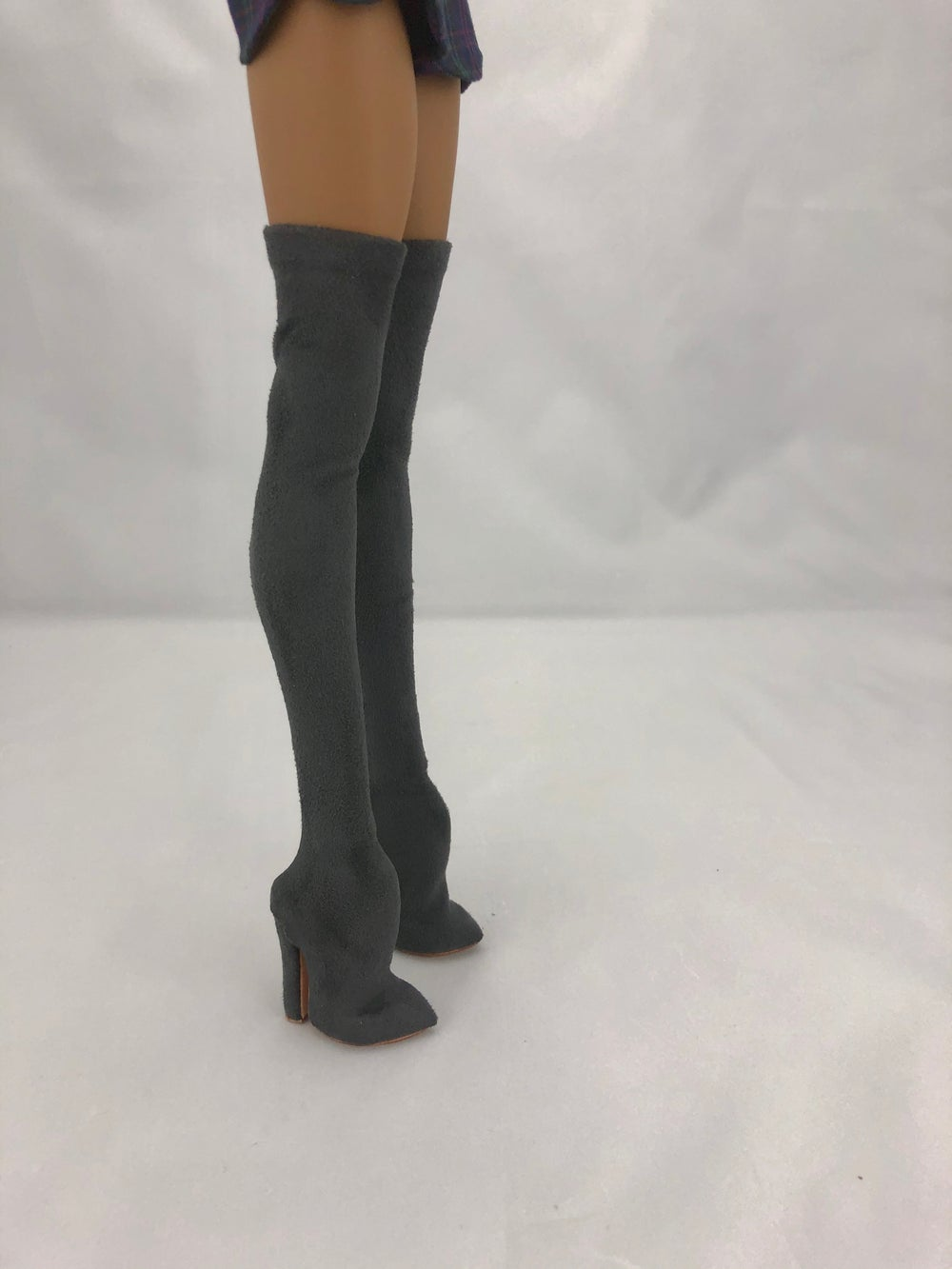 Gray Suede Thigh High Boots: Pidgin Doll