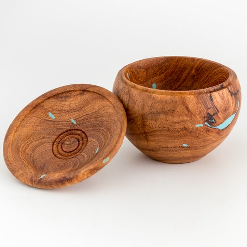 Image of Mesquite Burl Box with Turquoise Inlay