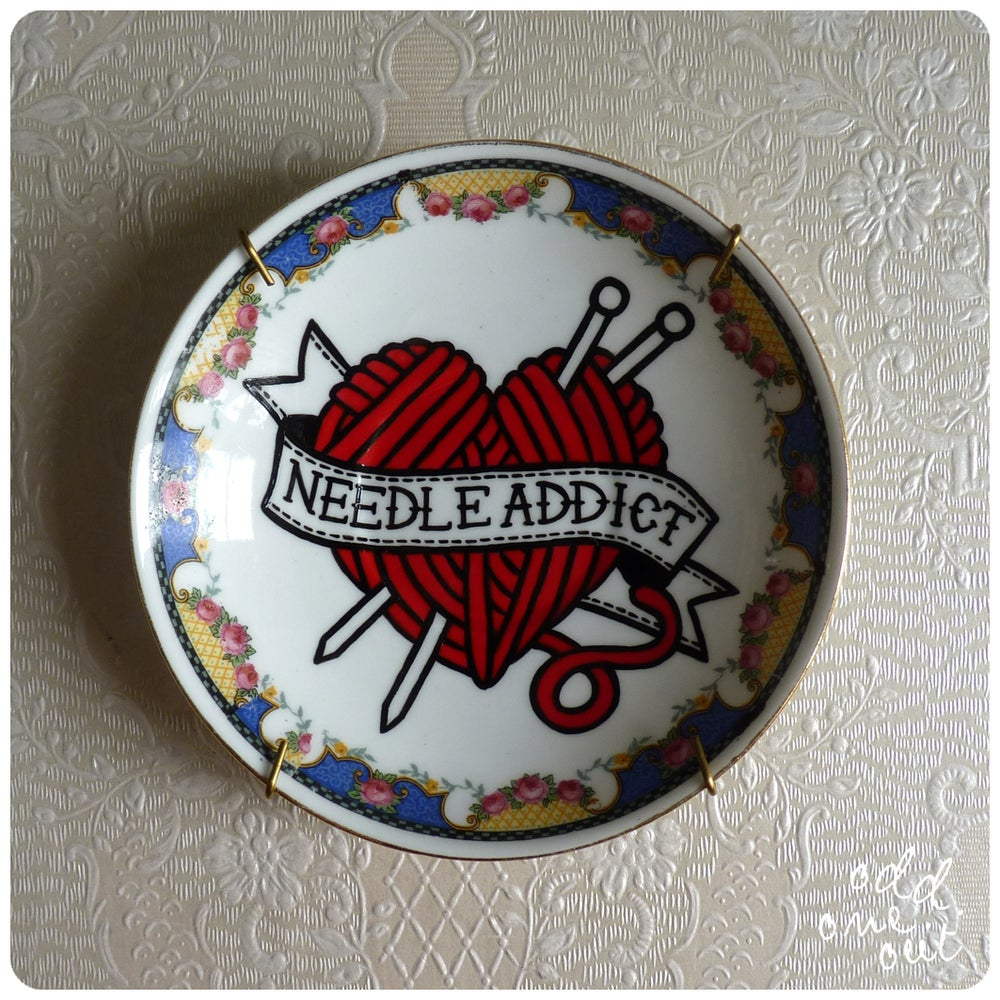 Image of Needle Addict - Hand Painted Vintage Plate