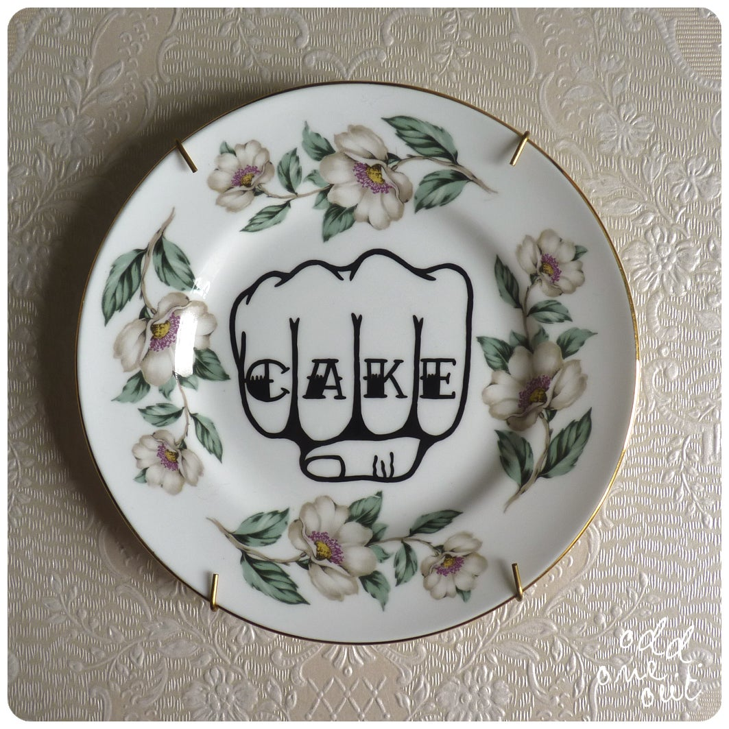 Image of Cake Knuckles - Hand Painted Vintage Plate