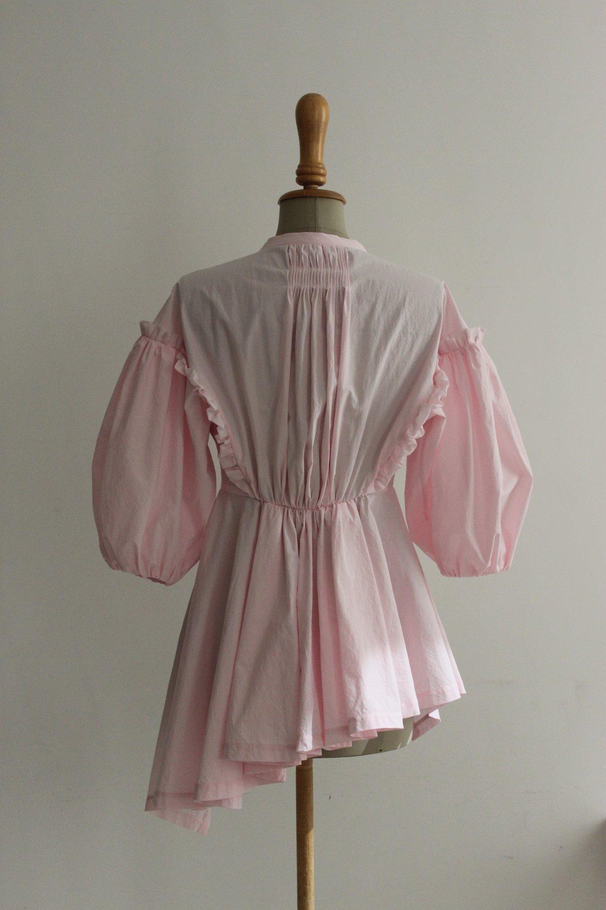 Ballon sleeve waist adjusted blouse