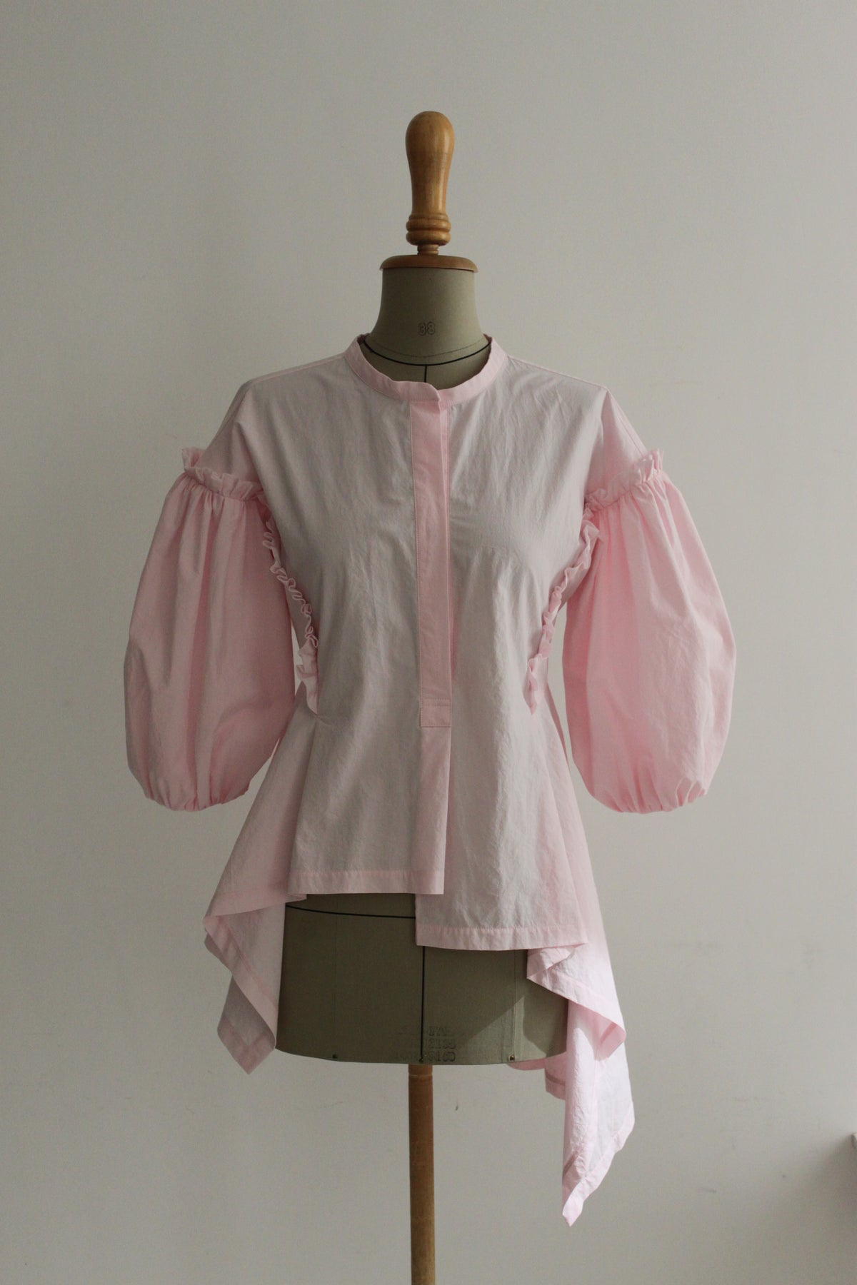 Ballon sleeve waist adjusted blouse