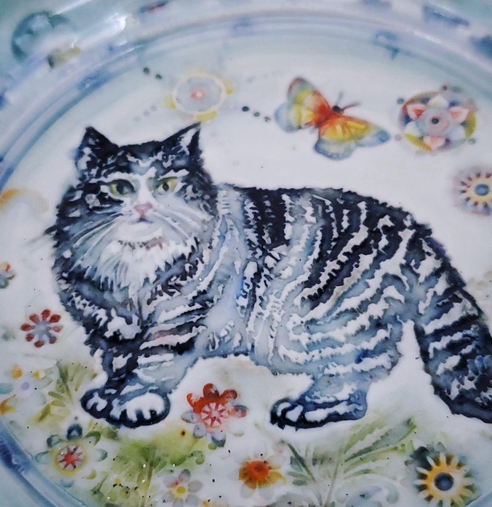 Image of Black and White Fluffy Cat Bowl