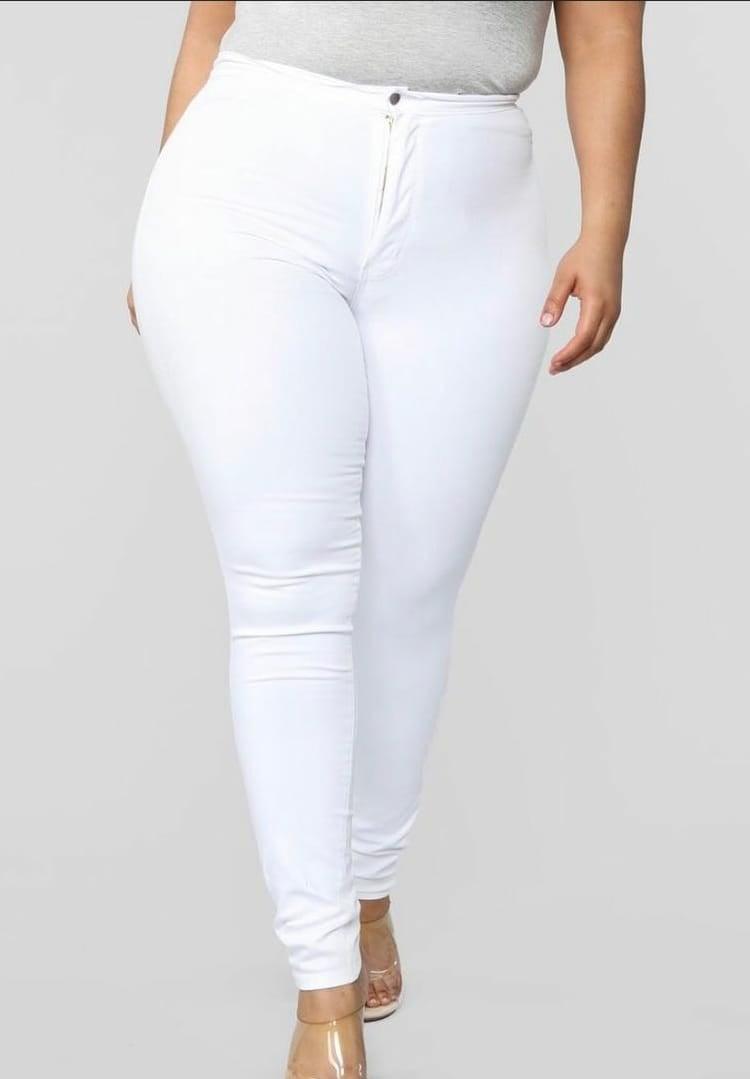 Image of Pantalon de Mezclilla Cintura Alta Blanco
