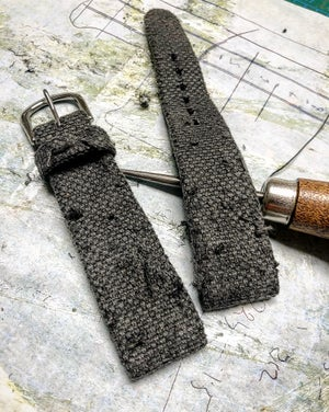 Image of Hand-rolled rembordé taupe grey distressed canvas watch strap