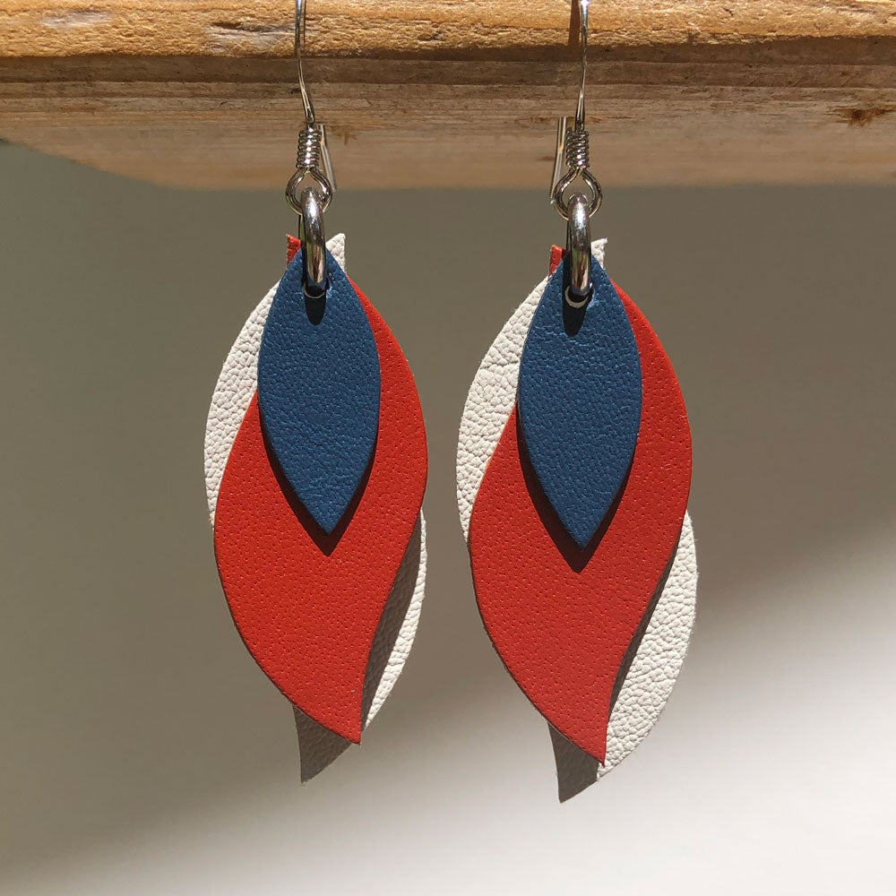 Image of Handmade Kangaroo leather leaf earrings - Royal blue, rusty red, cream