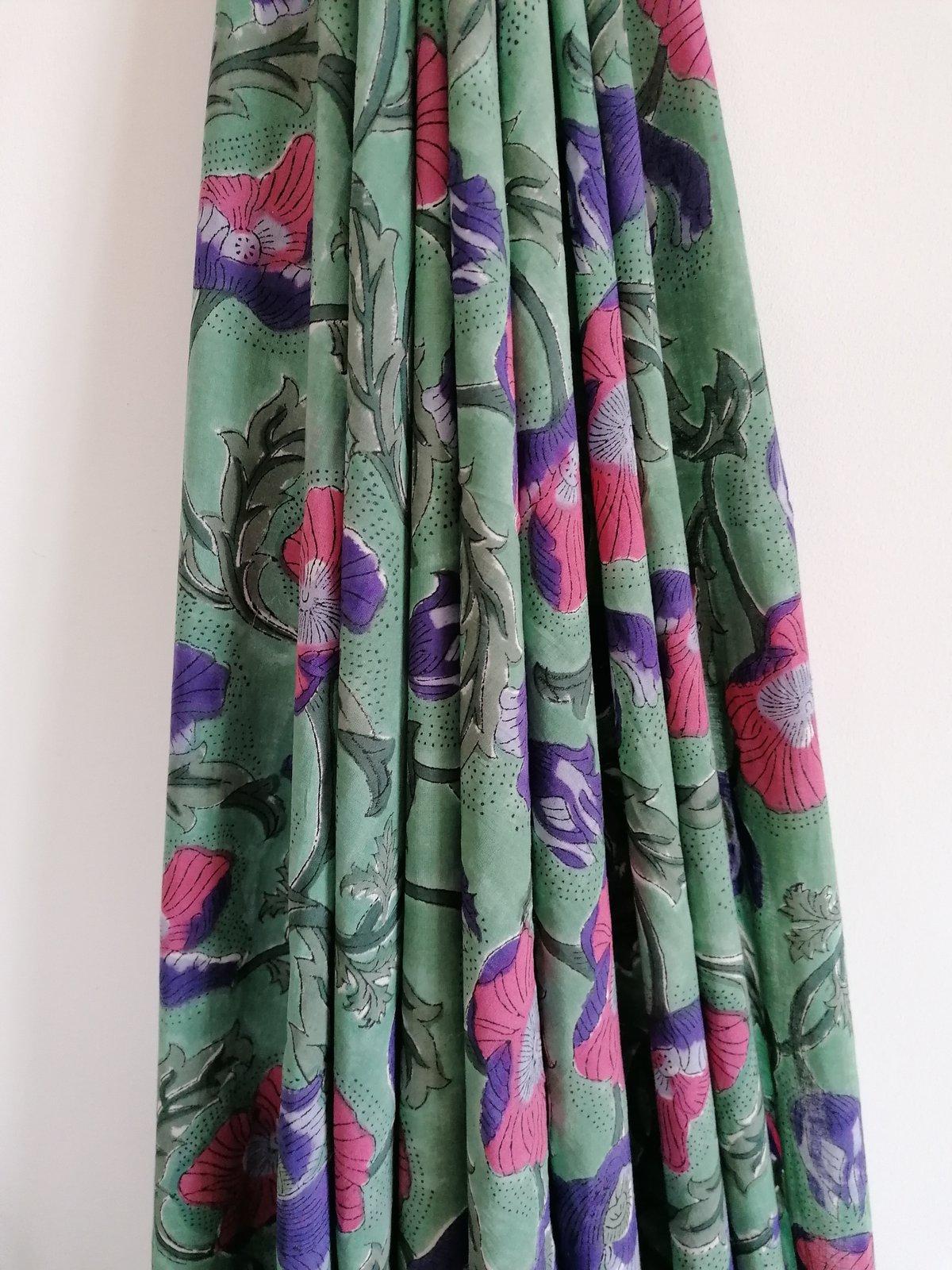 Image of Namasté fabric soleil levant vert