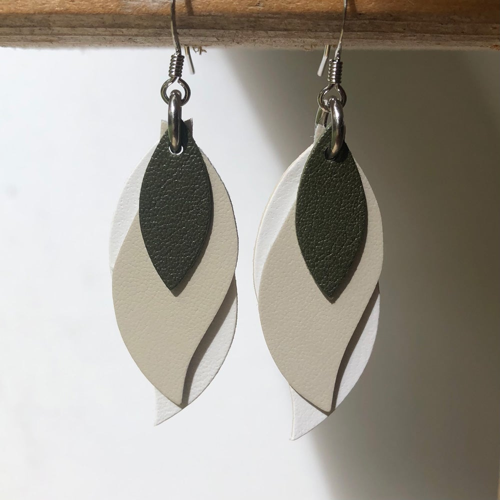 Image of Handmade Australian leather leaf earrings - Khaki green, soft portobello, white [LGK-189]