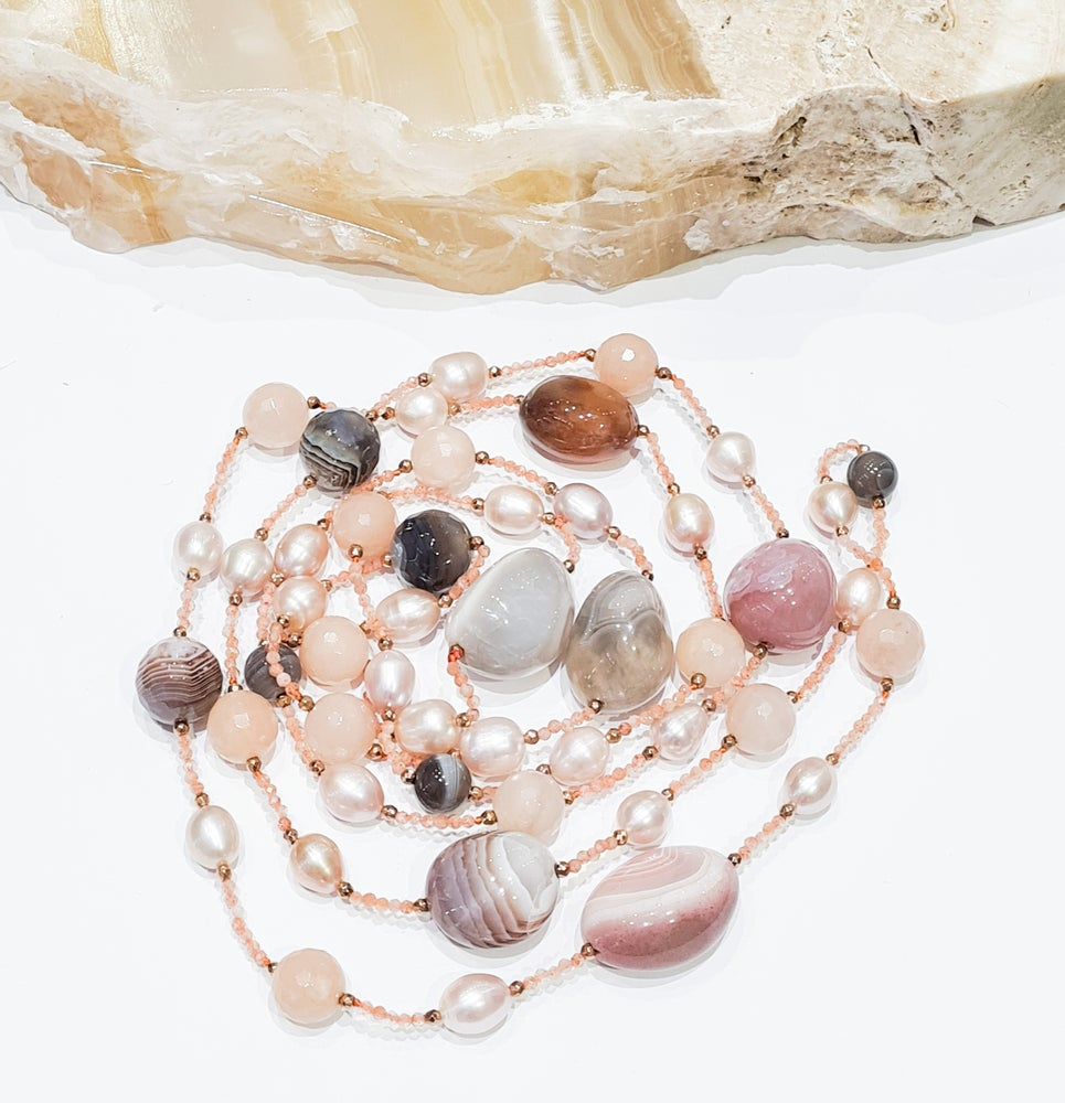 Image of Agate, Peach Moonstone, Pearl and Crystal Necklace