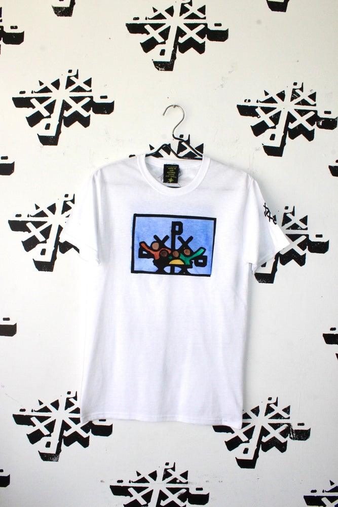 Image of really here for us hand painted tee in white