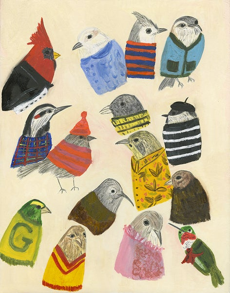 Image of If birds wore clothes. Limited edition print.