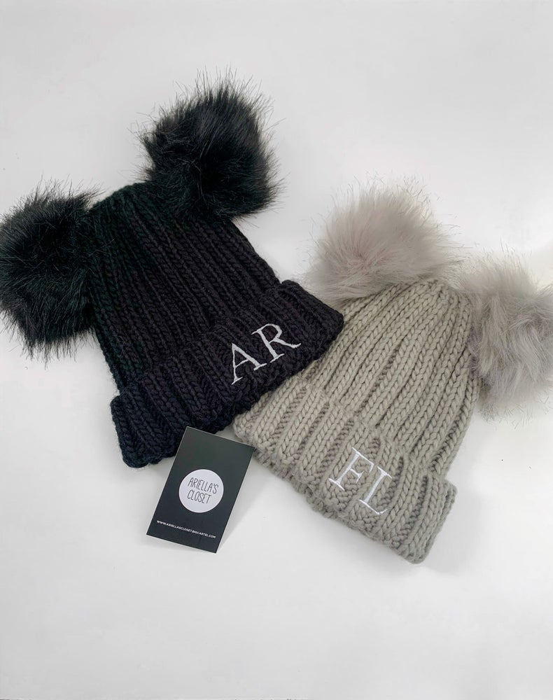 Image of Personalised Initails Embroidered Double Pom Hat