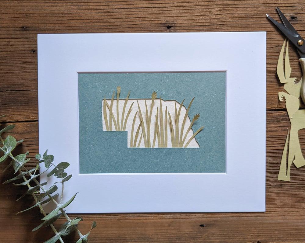 Image of Nebraska grasses cut paper