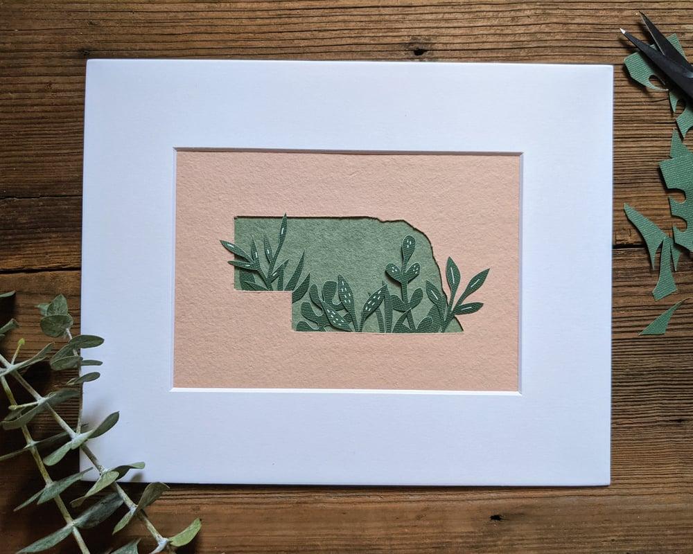 Image of Nebraska greenery cut paper