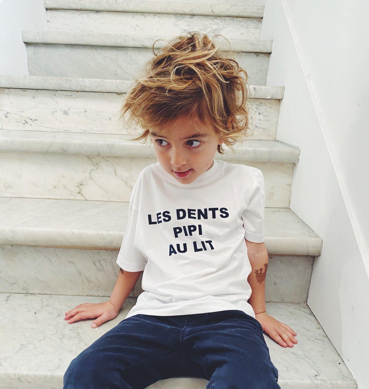 Image of Tee shirt blanc écrit bleu marine