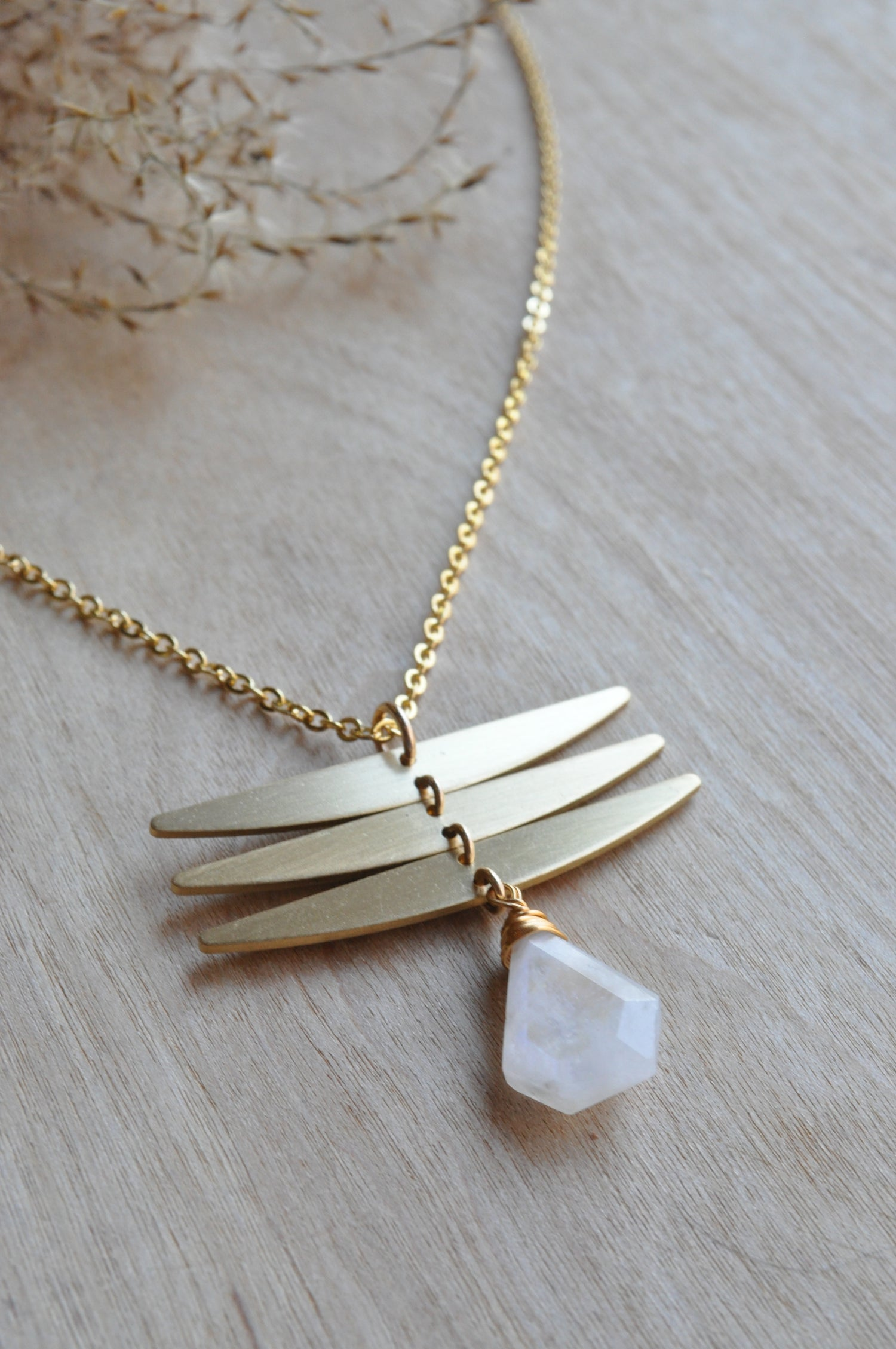 Image of The Dragonfly Necklace in Rainbow Moonstone