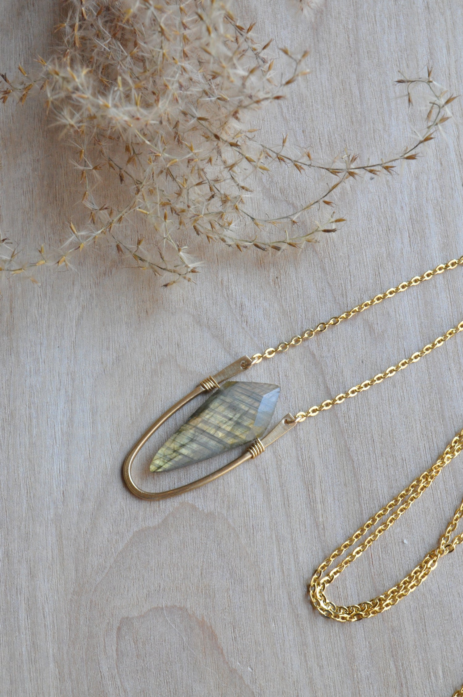 Image of Long Labradorite Spike Necklace