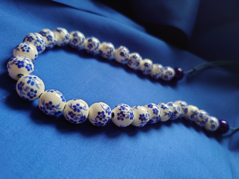 Blue Flower Porcelain Beaded Necklace