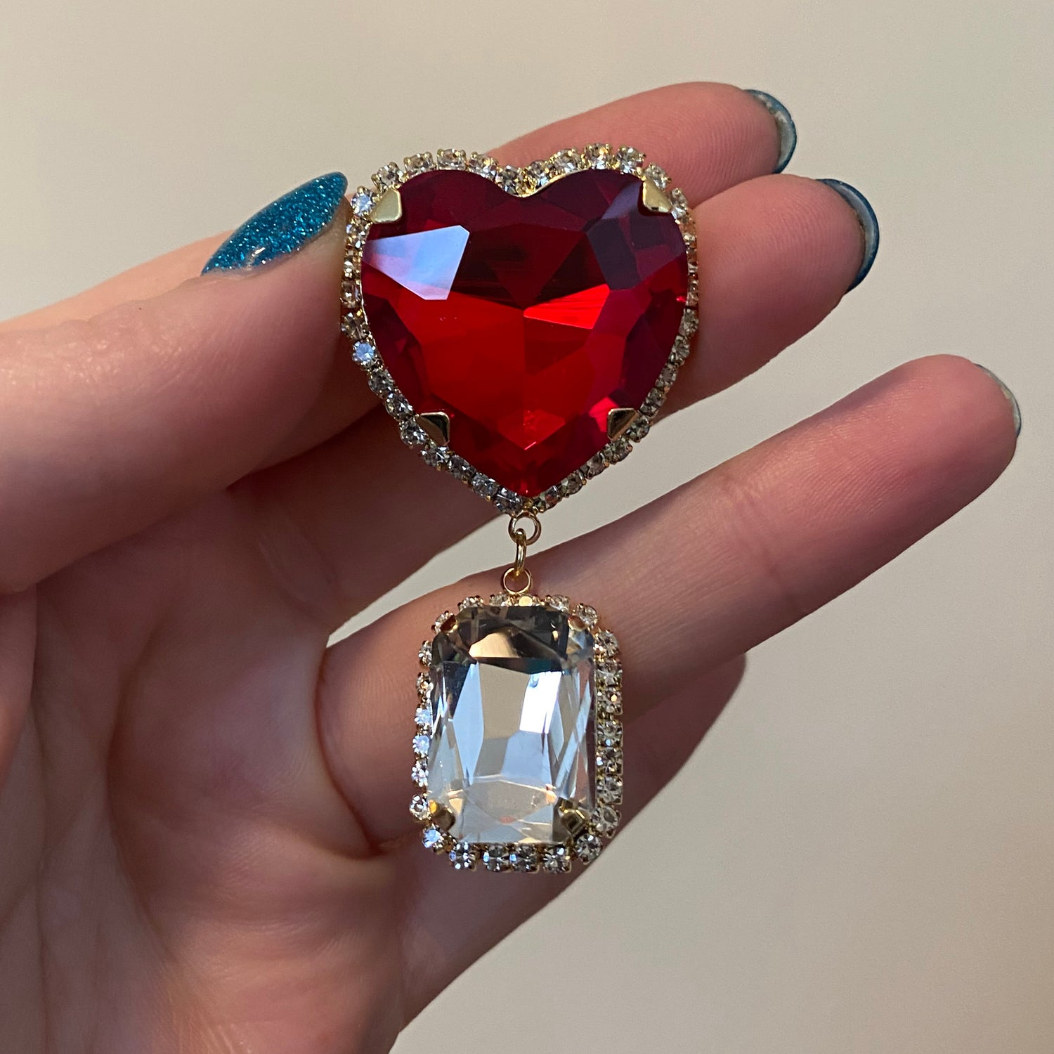 """Image of Red Heart Diamond Dangles (sizes 9/16-1"""")"""