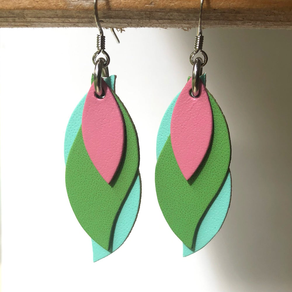Image of Handmade Australian leather leaf earrings - pink, lime green, mint [LPL-052]
