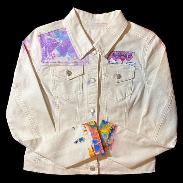 Image of Pink Lighting marbled cropped denim jacket