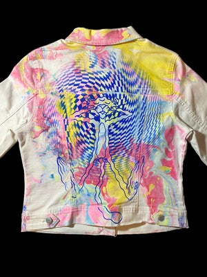 Image of Pink Lighting marbled cropped denim jacket