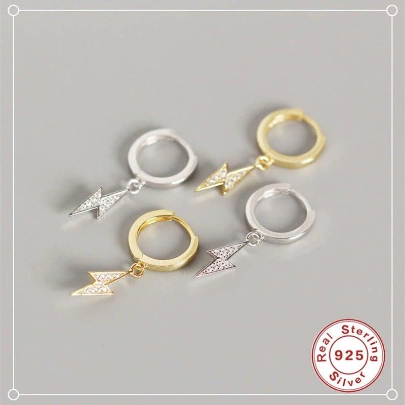 Lightning Bolt Hoop Earrings in Cubic Zirconia (925 Silver)