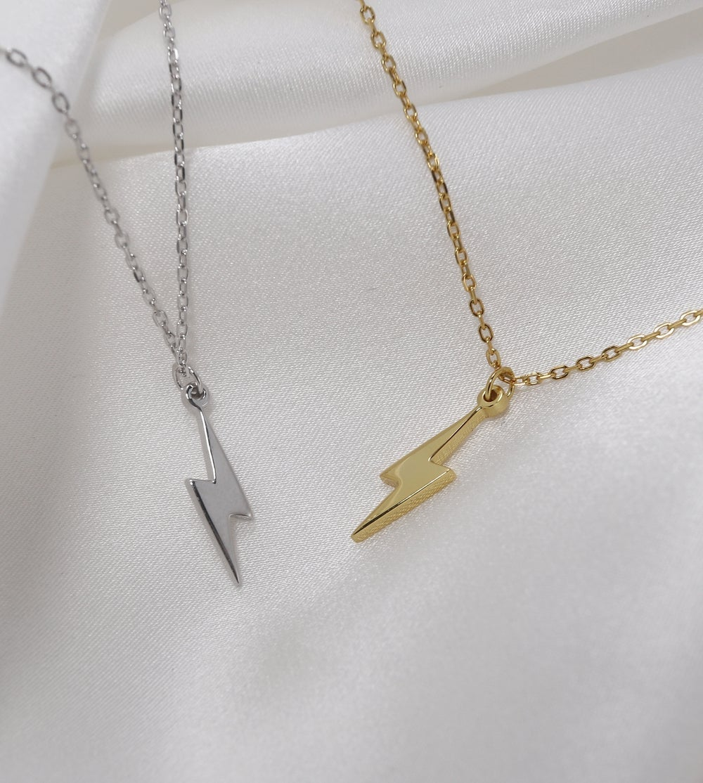 Gold Lightning Bolt Necklace (925 Sterling Silver)
