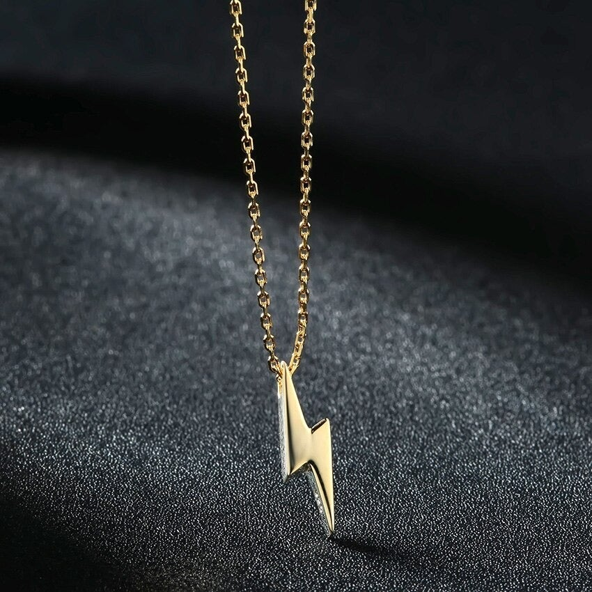Gold Lightning Bolt Iconic Necklace (925 Silver)