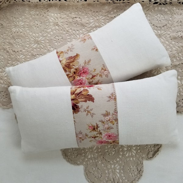 Image of Pair - Antique French Floral Cushions - e