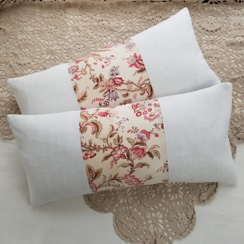 Image of Pair - Antique French Floral Cushions - A10