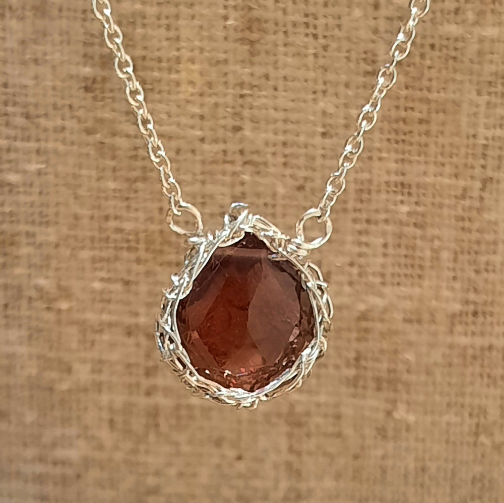Image of Sterling and Garnet Crochet Necklace