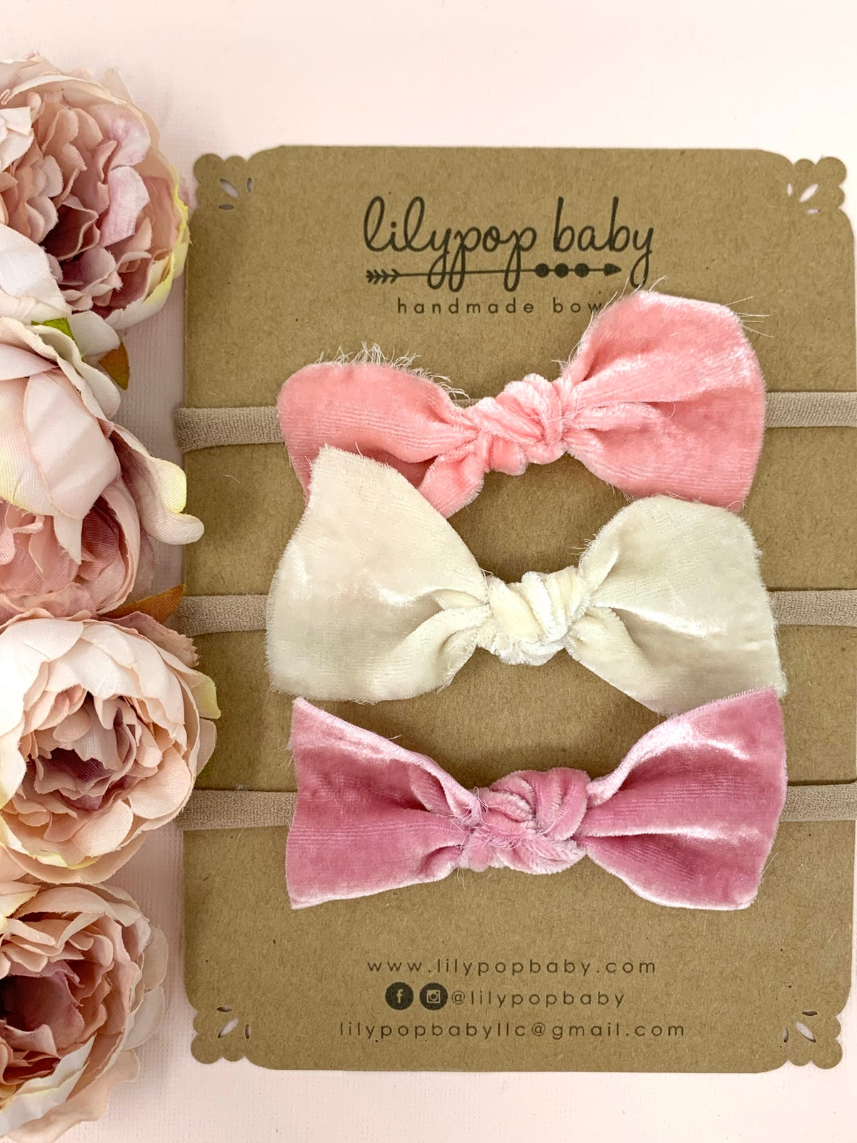 Image of Baby Raw Edge Silk Velvet Bow