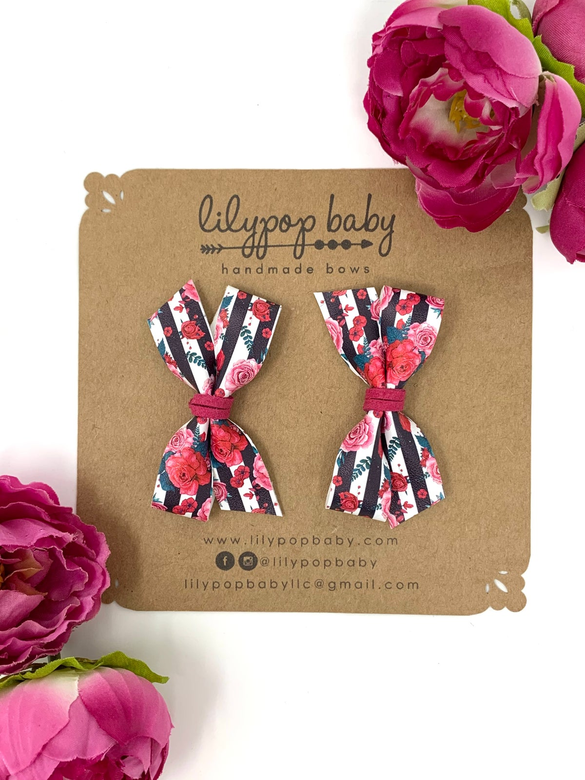 Image of VDay Floral Stripe Pigtails (Set of 2)