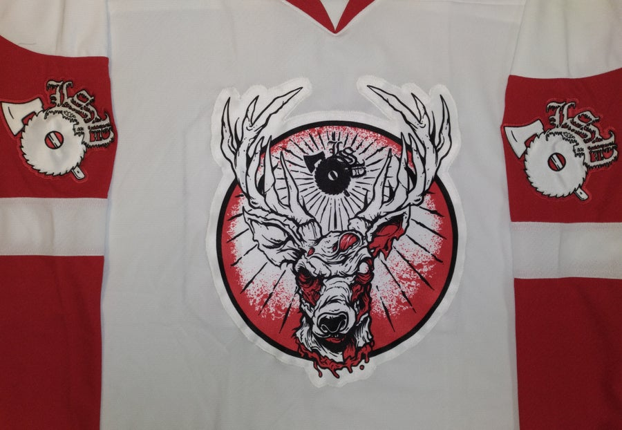 Image of LSP: 20TH ANNIVERSARY RED / WHITE EMBROIDERED HOCKEY JERSEY