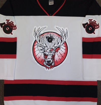 Image of LSP: 20TH ANNIVERSARY  RED/ BLACK STRIPE EMBROIDERED HOCKEY JERSEY