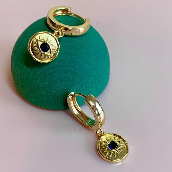 Image of Gold Eye Disc Huggie Hoops