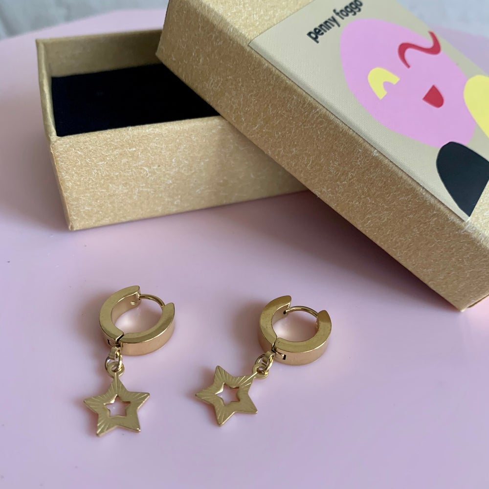 Image of Gold Five Point Star Huggie Hoops