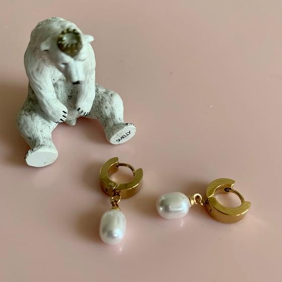 Image of Little Shell Pearl Huggie Hoops