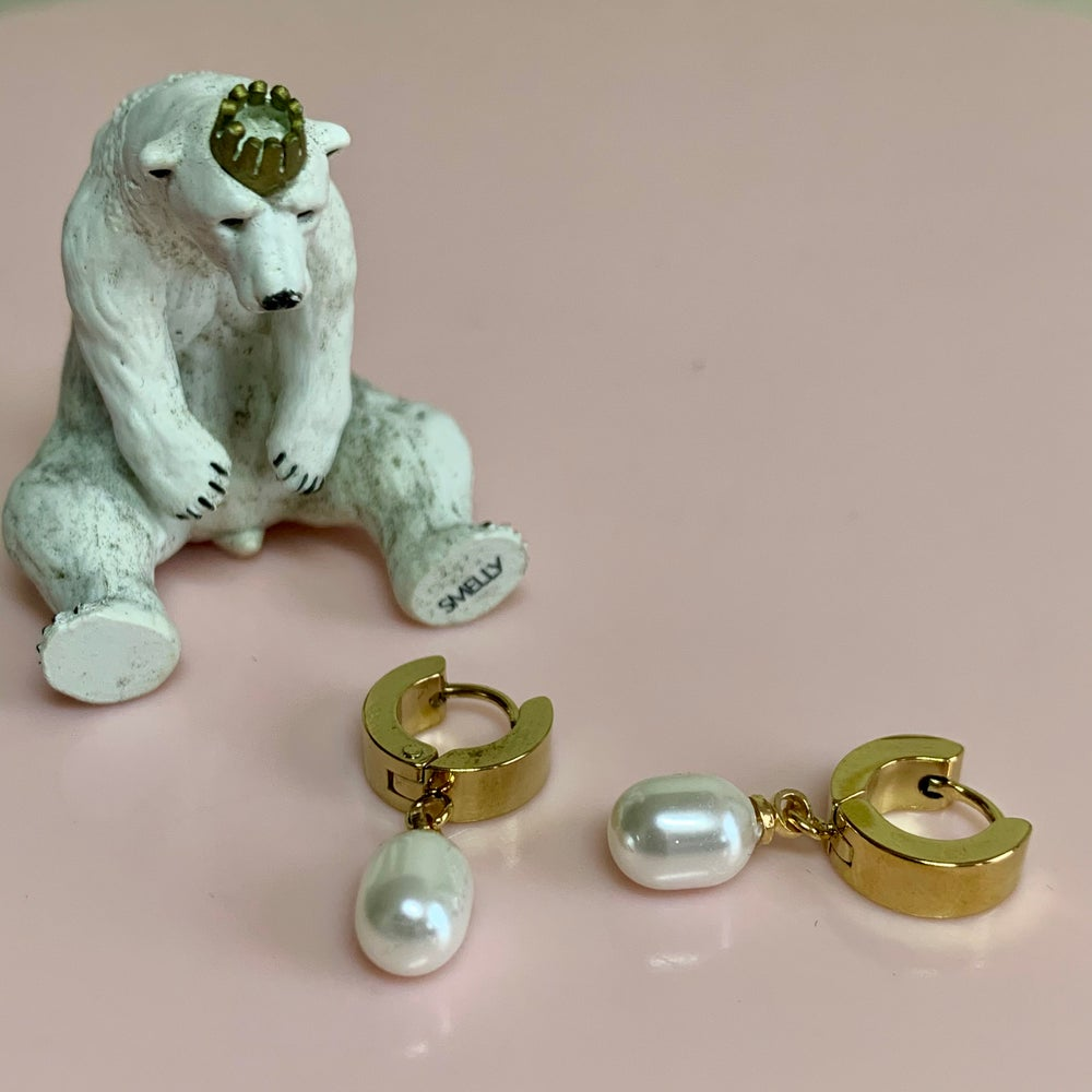 Image of Little Shell Pearl Huggie Hoops