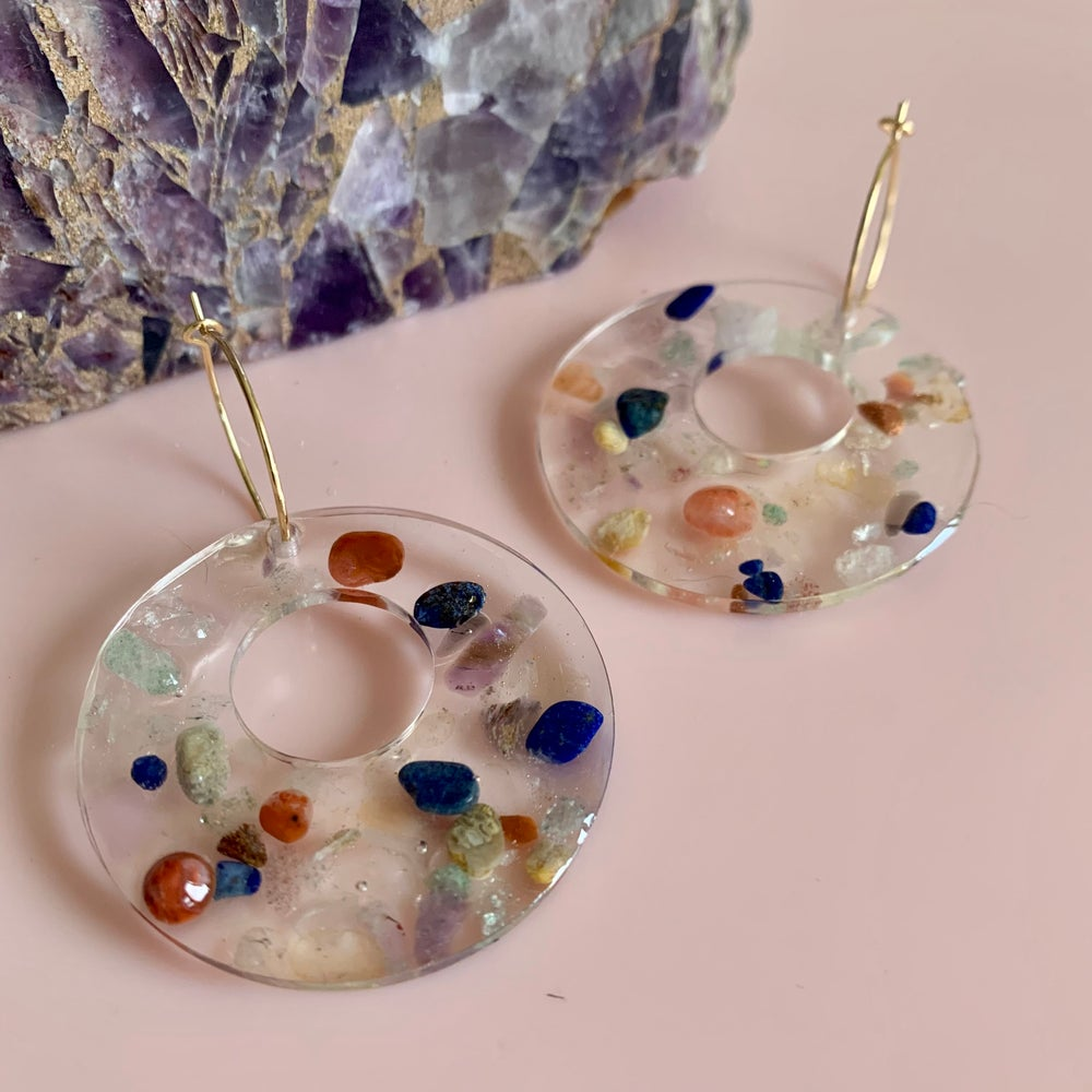 Image of Resin and Quartz Crystal Circles with holes
