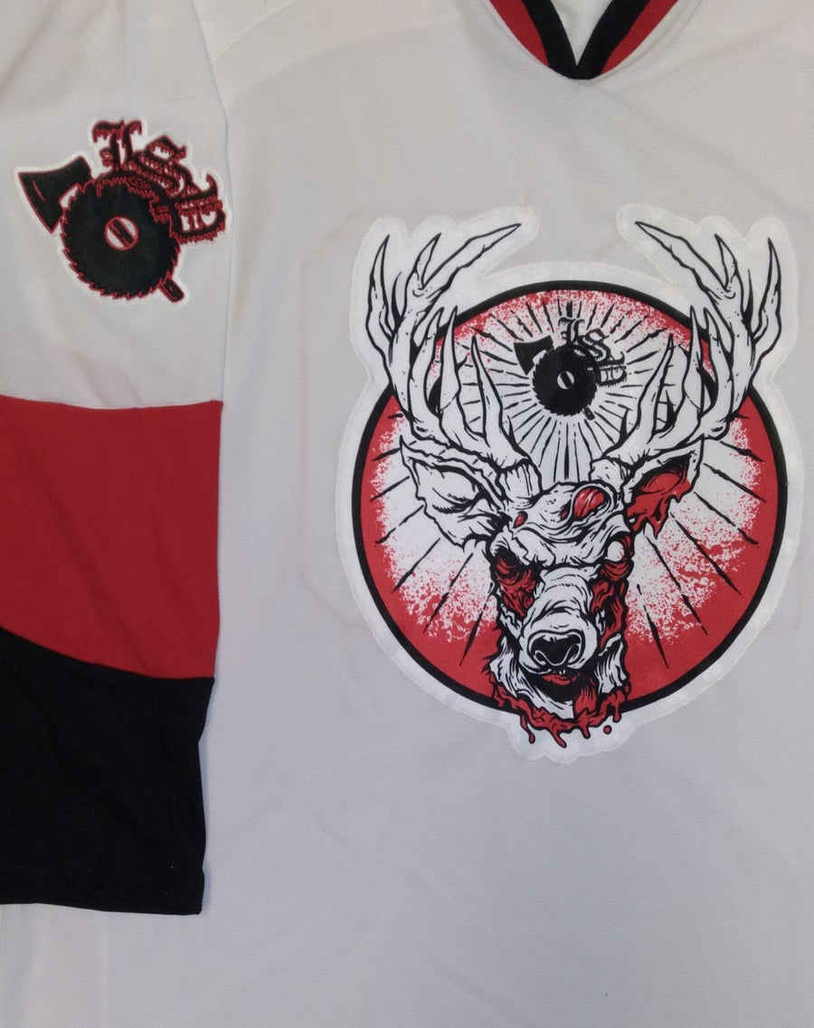 Image of LSP : 20TH ANNIVERSARY BLACK/ RED EMBROIDERED HOCKEY JERSEY